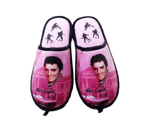 Elvis Slippers Pink w/ Guitars - one size fits most -