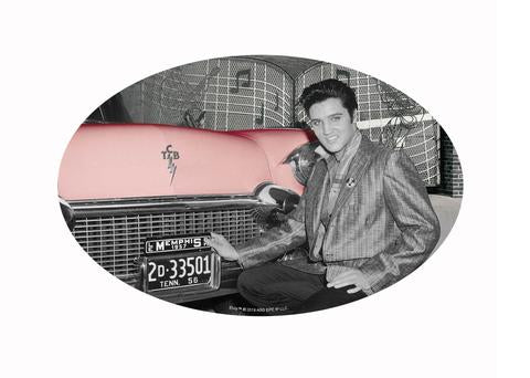 Sticker Elvis Oval Elvis In Front Of Car