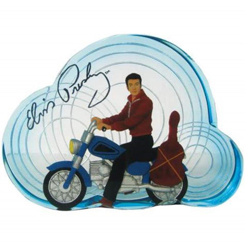 Elvis Presley Riding Motorcycle Clear Resin Figurine