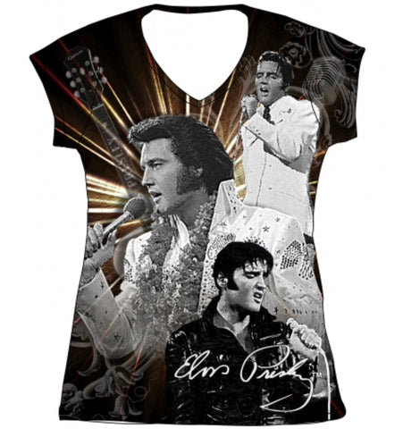Ladies Tee Elvis All Over Print W/ Rhinestones