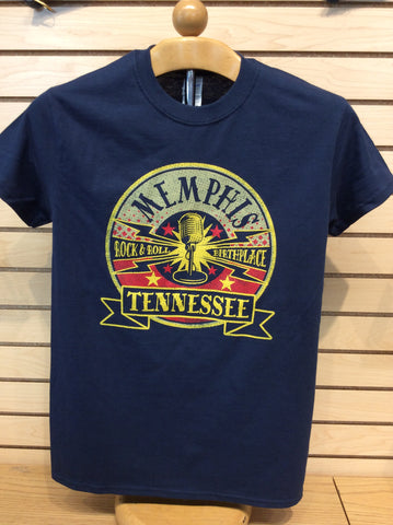 T-Shirt Memphis,Tennessee. Rock-N-Roll Birthplace w/mic. On stand
