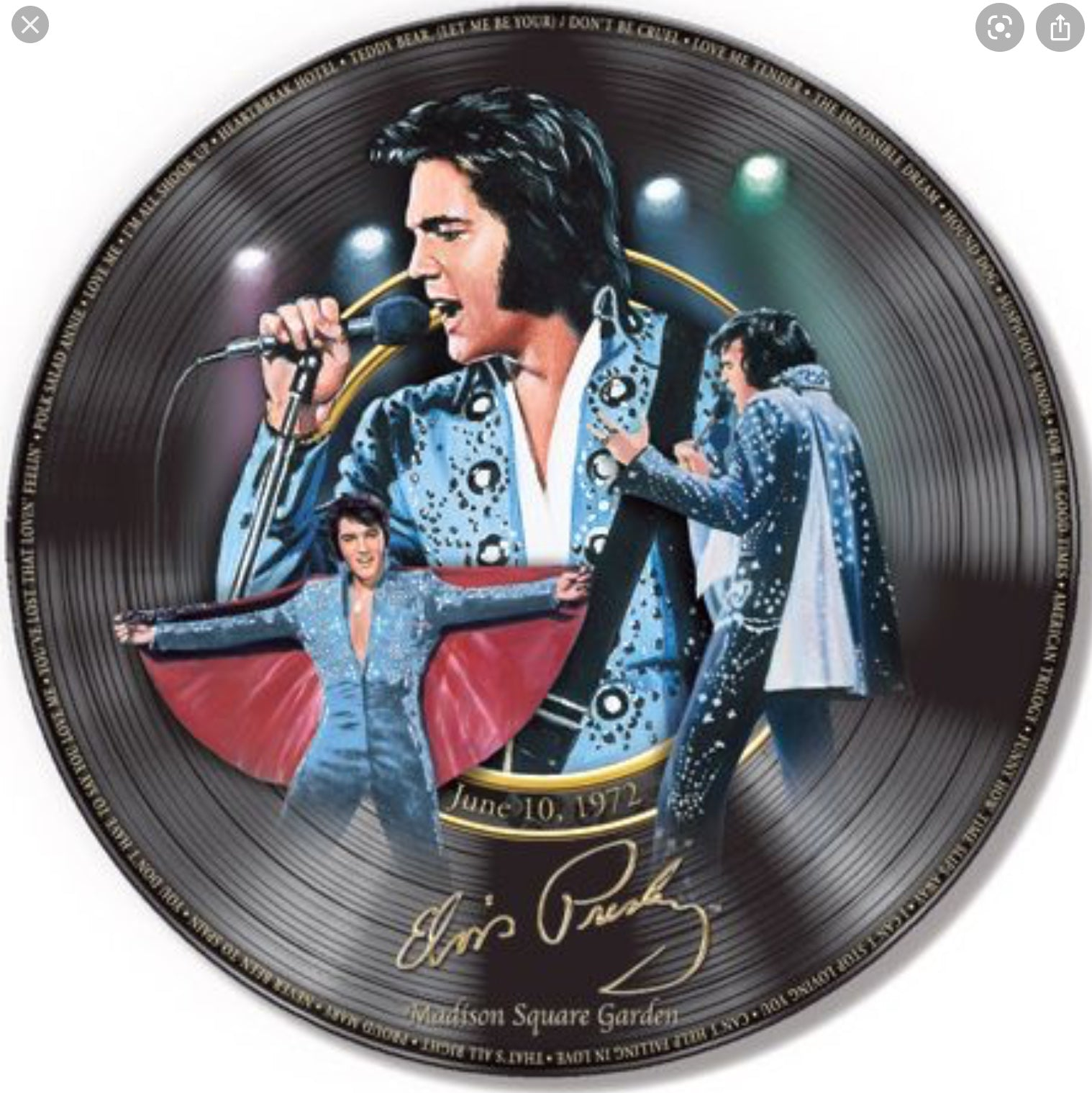 Elvis Collectors Plate Madison Square Garden