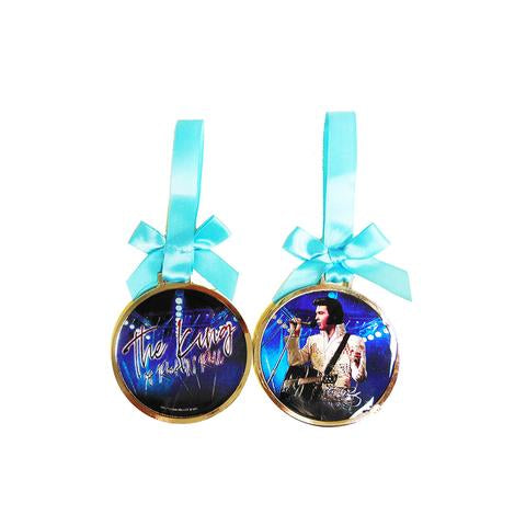 "Ornament Elvis Metallic -The King Blue /White Jumpsuit- 3"" Diam. -"