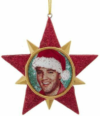 Elvis Presley Red Glitter Star Ornament