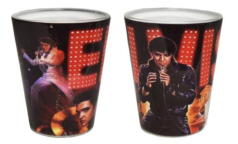 Shot Glass Elvis 68'Name In Lights Collage