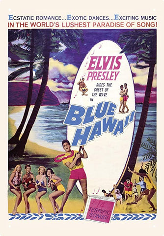 Elvis Blue Hawaii 8 X 11.5 Tin Sign, Multicolor