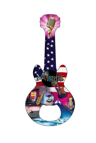 Bottle Opener Magnet Memphis Guitar American Flag Collage
