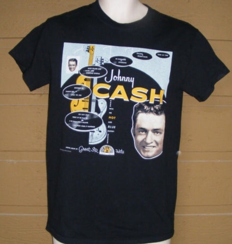 T—Shirt Johnny Cash Sun Records 1 sided print with face, guitar and song titles