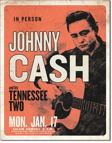 Tin sign Johnny Cash In Person and his Tennessee Two