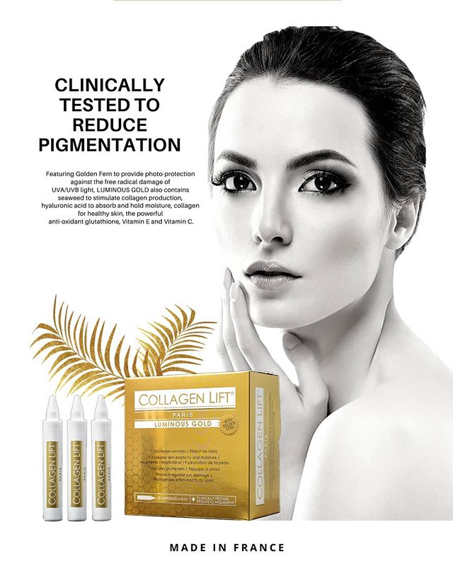 Collagen Lift Paris Luminous Gold x 3 Bundle : clinically-proven collagen and whitening drink