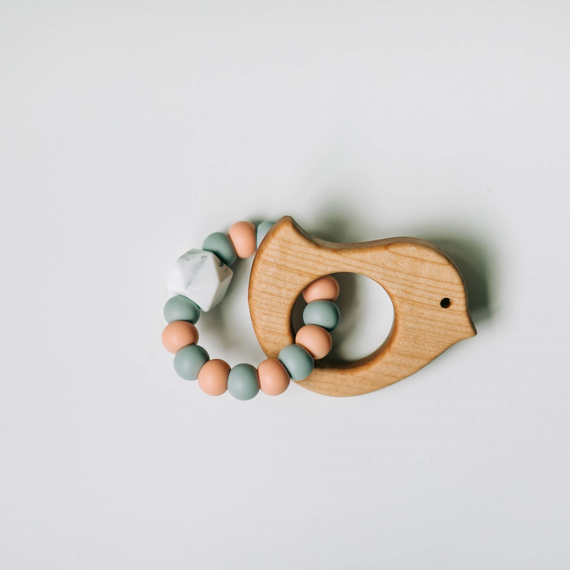 Custom Wooden Bird Teether with Beaded Silicone Ring