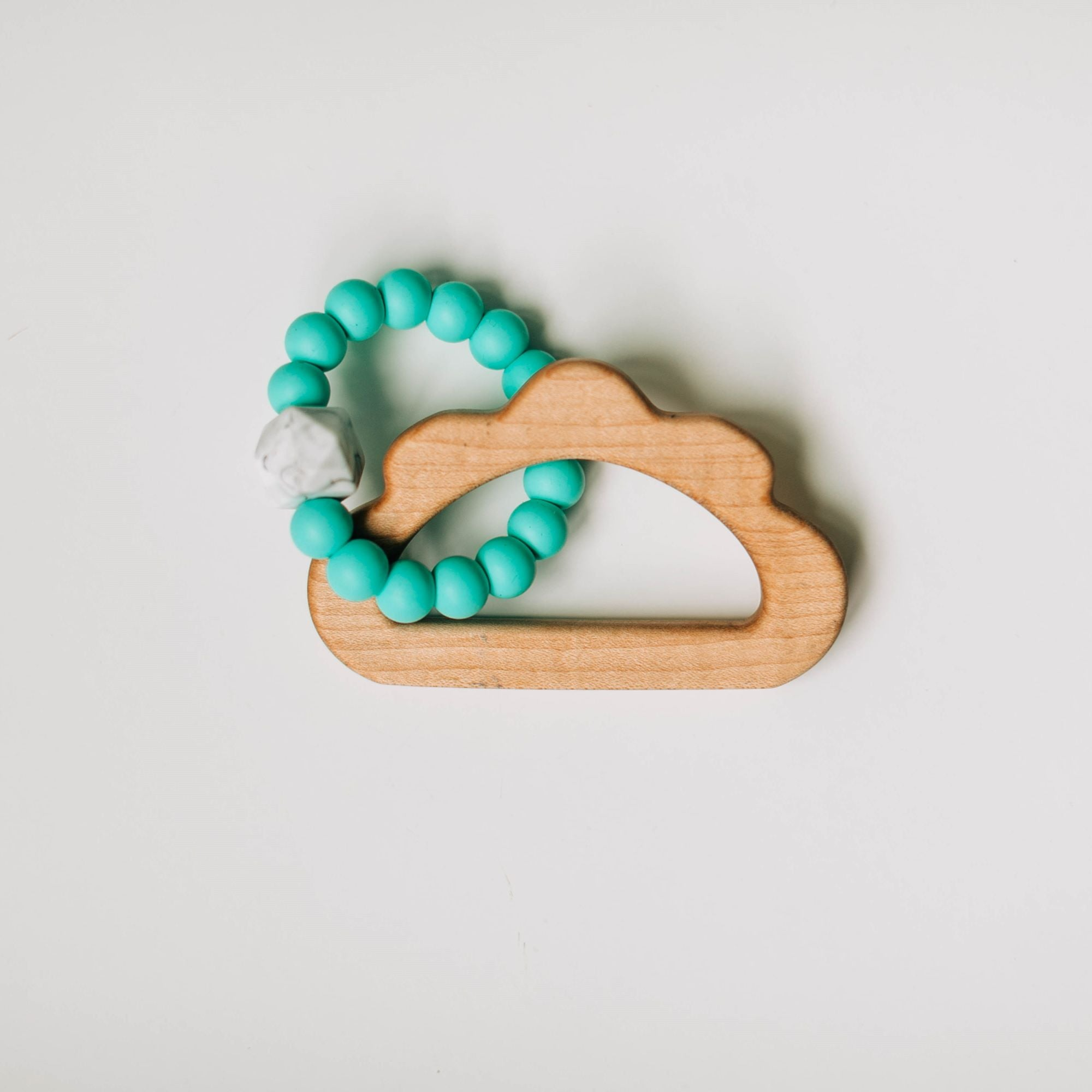 Custom Wooden Cloud Teether with Beaded Silicone Ring