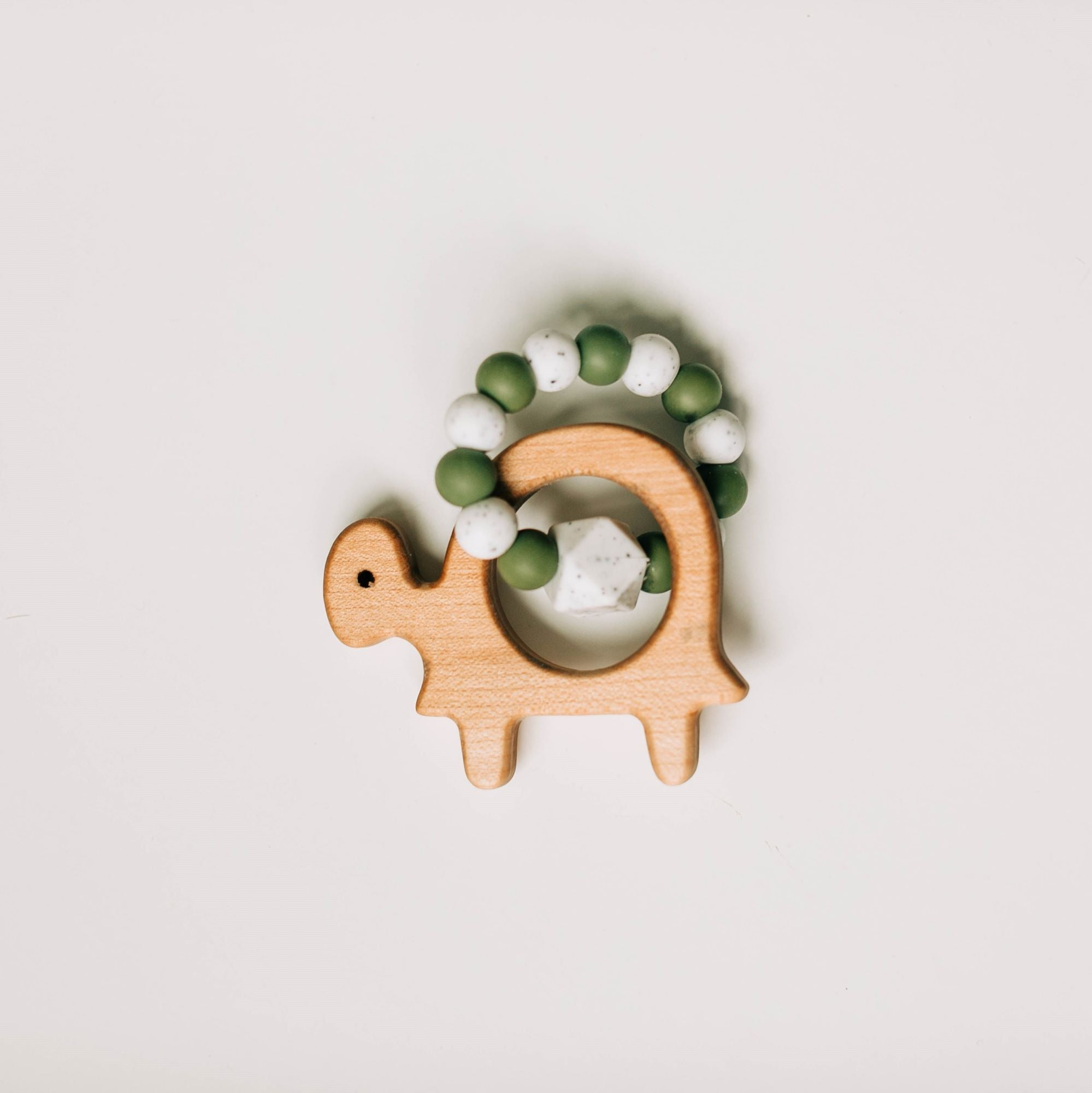Custom Wooden Turtle Teether with Beaded Silicone Ring