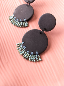 Circle Drop - Matte Black and Turquoise Picasso - Made to Order