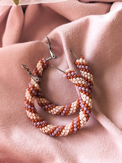 Beaded Hoops - XL - Dusty Rose & Terracotta