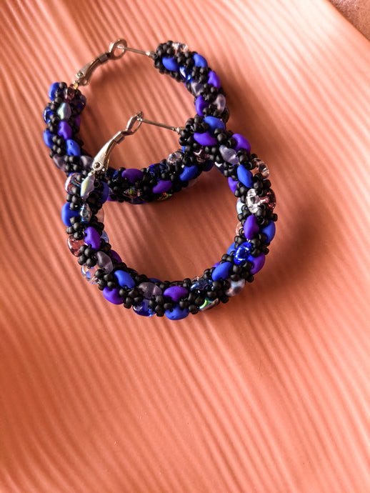 Beaded Hoops - XL - Galaxy