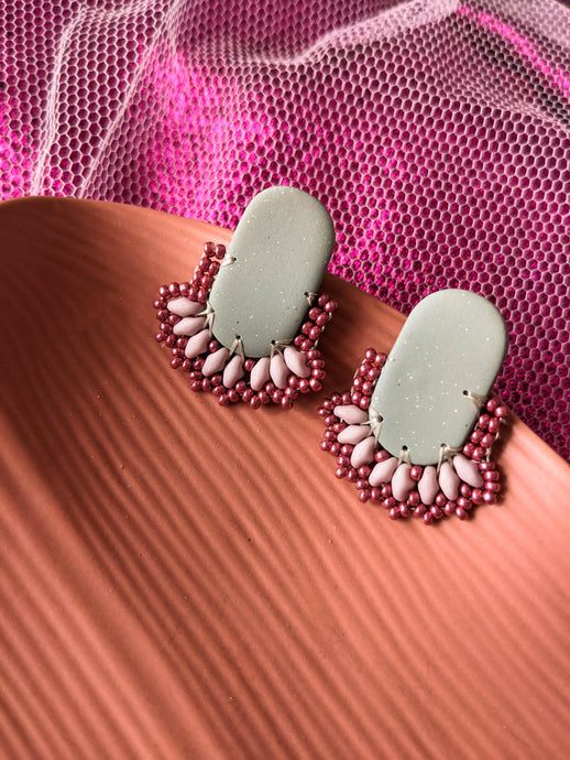 SECONDS - Oval Stud - Sage & Raspberry