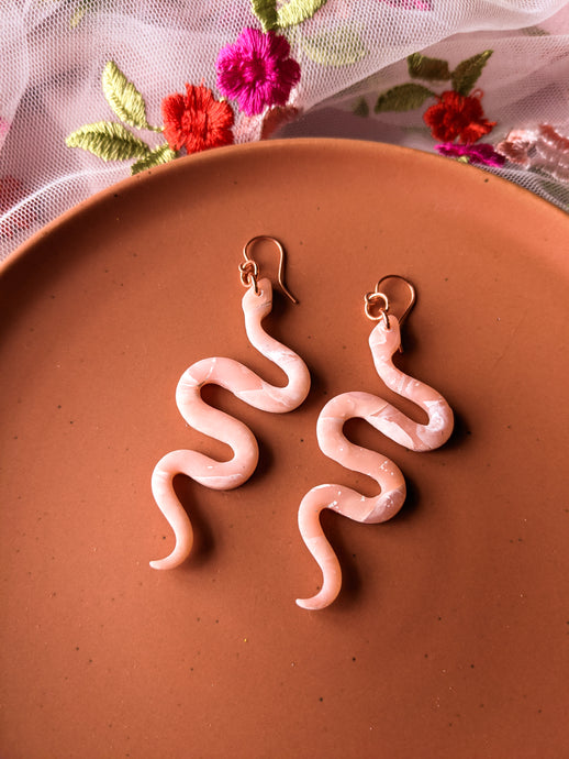 Snake - Rose Quartz & Copper