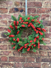 Load image into Gallery viewer, Fresh pine & ilex berry wreath