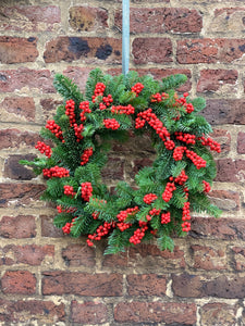 Fresh pine & ilex berry wreath