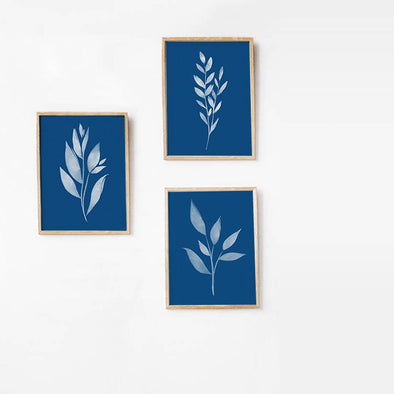 Classic Blue & White Leaf Art Prints - ColorBee Creative