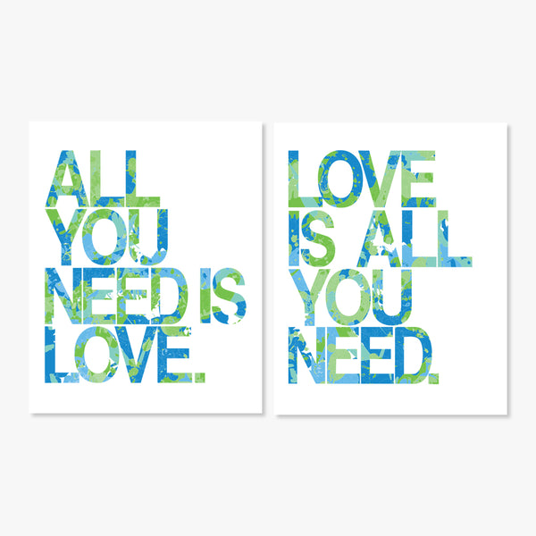 Art Prints Love Is All You Need Blue Green