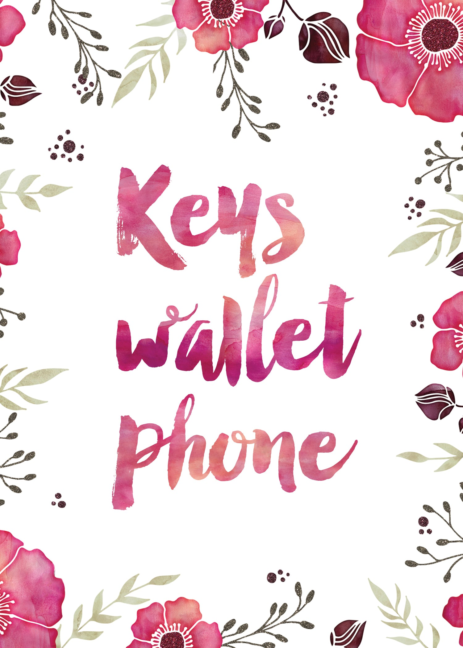 Keys Wallet Phone Art Print Free Download Printable