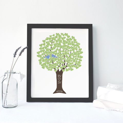 Green Love Tree Framed Canvas
