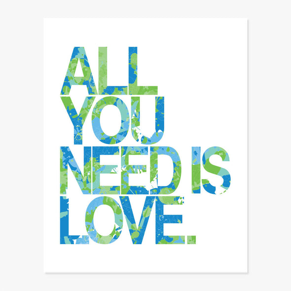 All You Need Is Love Set of 2 Art Prints (Blue & Green)