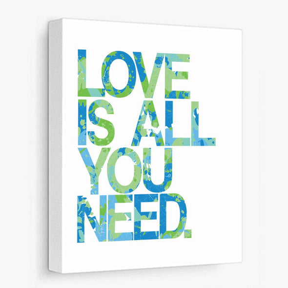 Love Is All You Need (Blue Green) Canvas Print Gallery Wrapped Canvas by ColorBee Creative