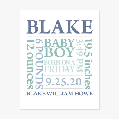 Baby Name Birth Announcement Personalized Art Print (Teal Green Yellow)