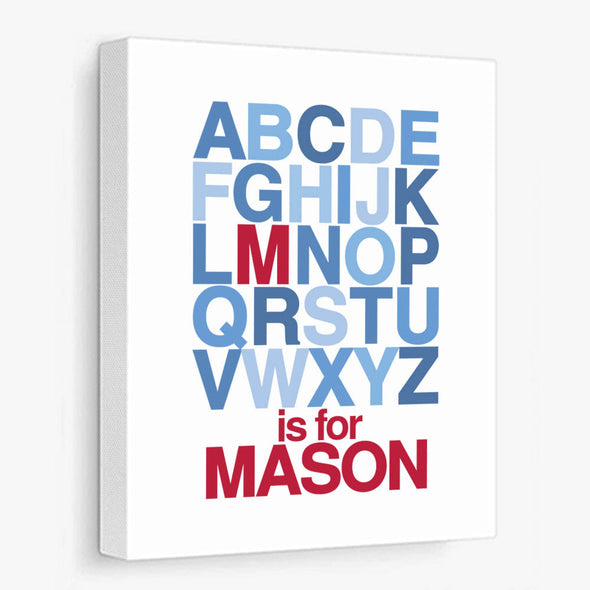 Alphabet Name (Red & Blue) Personalized Canvas