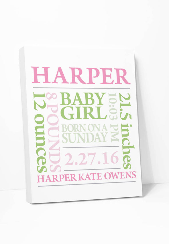 Baby Girl Birth Announcement (Pink & Green) Personalized Canvas