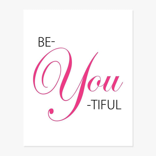 Be-YOU-tiful Art Print (Gold, Pink, Lilac, Teal or Red) Art Print by ColorBee Creative
