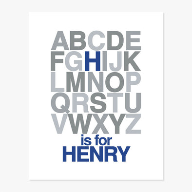 Alphabet Name Personalized Art Print (Blue & Grey)