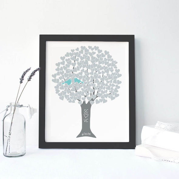 Anniversary Tree Personalized Art Print (Silver)