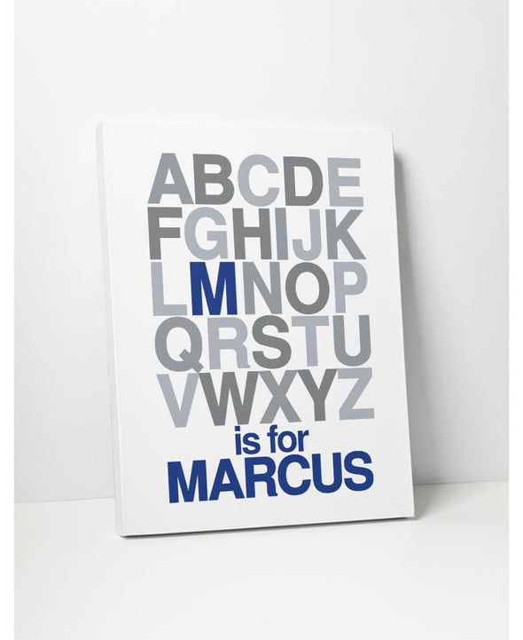 Alphabet Name (Blue & Grey) Personalized Canvas