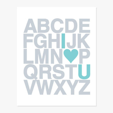 I Love You Alphabet Art Print (Silver & Teal)