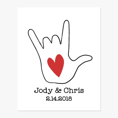 Love Sign Language Hand Symbol Couples Names Date Personalized Art Print
