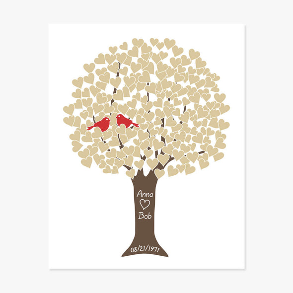 Anniversary Tree Personalized Art Print (Golden)