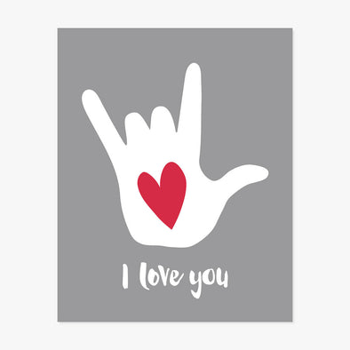 I Love You Hand Symbol Sign Language Art Print (Grey)