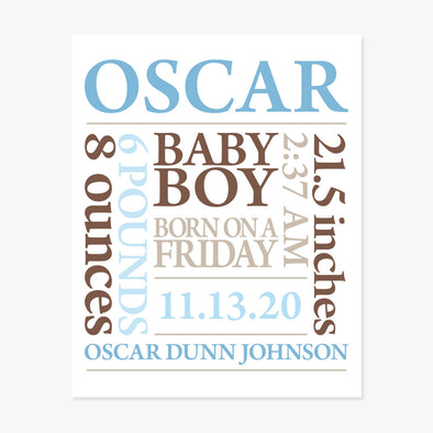 Baby Birth Announcement Personalized Art Print (Blue & Brown)