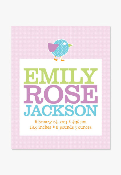 Art Print: Personalized Baby Birdie Birth Announcement [Pink] Art Print by ColorBee Creative Color And Flair
