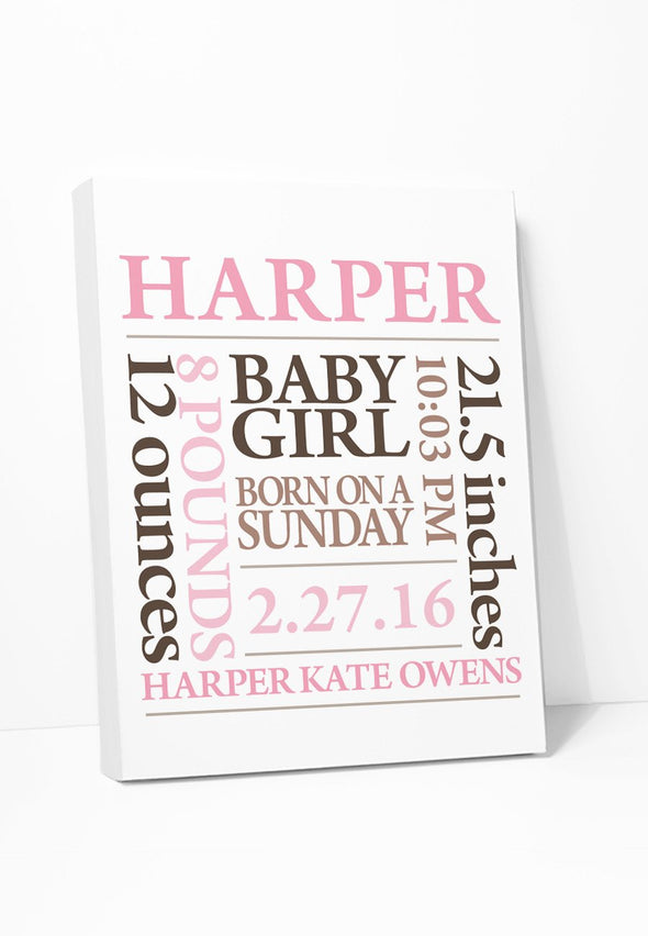 Baby Name Girl (Pink & Brown) Personalized Canvas Gallery Wrapped Canvas by ColorBee Creative