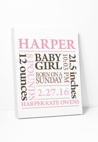 Canvas Print: Baby Birth Announcement Art (Pink Brown) Gallery Wrapped Canvas by Color And Flair Color And Flair
