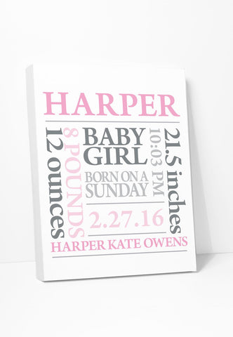 Canvas Print: Baby Birth Announcement Art (Pink & Grey) Gallery Wrapped Canvas by Color And Flair Color And Flair