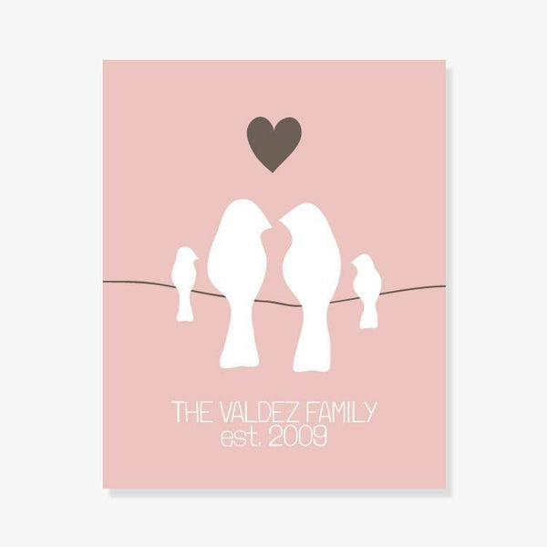 Personalized Family Name Print in Pink Blush