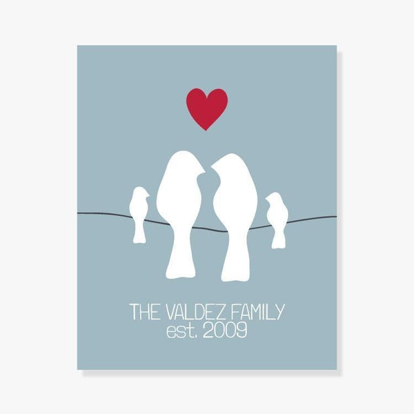 Personalized Family Print - Pink, Blue Grey, Taupe or Sage Art Print by Color And Flair Color And Flair