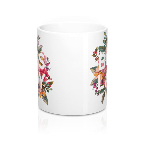 Side image of Boss Lady mug showing design on both sides