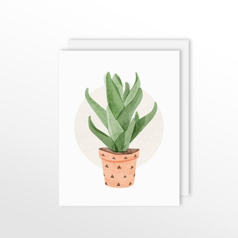Cute Cacti Card - Aloe Vera Stationery by ColorBee Creative Color And Flair